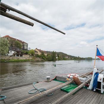 Parník Vltava vplouvá do Nelahozevsi