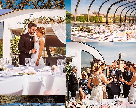Svatba na lodi v Praze